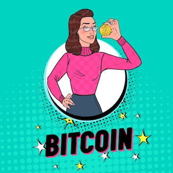 Pop art pretty woman holding golden bitcoin coin. crypto valuta concetto. poster pubblicitario di denaro virtuale.