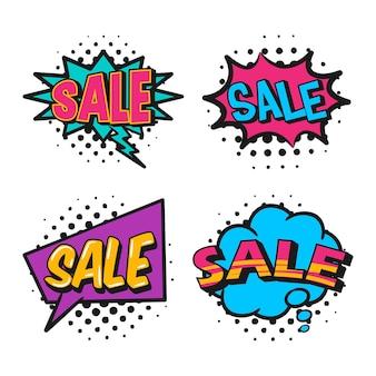 Set di etichette o adesivi di vendita pop art