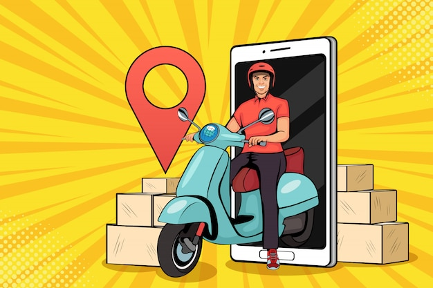 Scooter pop art con fattorino. corriere veloce. servizio di ristorazione, consegna della posta