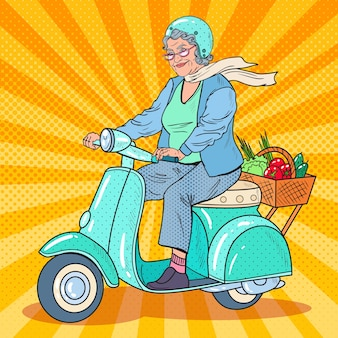 Pop art senior woman riding scooter
