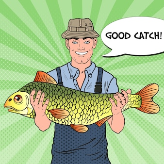 Pop art sorridente pescatore con pesce grosso