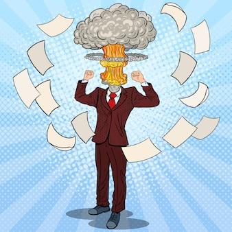Pop art ha sottolineato l'uomo d'affari con la testa di esplosione.