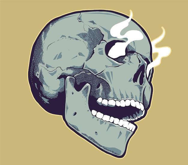 Teschio in stile pop art con occhi fumanti.