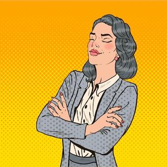 Pop art donna d'affari di successo con gli occhi chiusi.