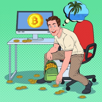 Imprenditore di successo di pop art mettere bitcoin nello zaino