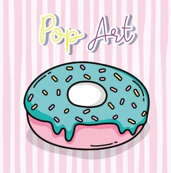 Progettazione grafica dell'illustrazione di vettore del fumetto della ciambella del dolce di pop art