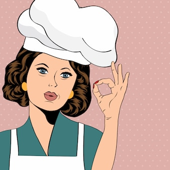 Cuoco donna pop art