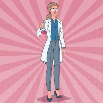 Scienziato della donna di pop art con la boccetta. ricercatore di laboratorio femminile. concetto di farmacologia chimica.
