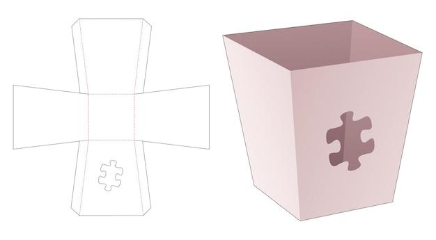 Contenitore per pop corn con modello fustellato finestra a forma di pezzi di puzzle pieces