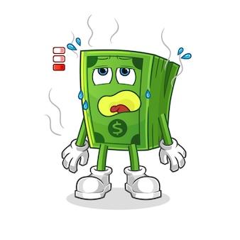 Mascotte batteria scarica pop corn. cartone animato