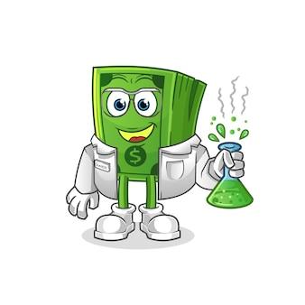 Personaggio scienziato pop corn. mascotte dei cartoni animati