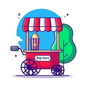 Pop corn stand sul circo e festival cartoon illustrazione. circo e festival icona concetto bianco isolato. stile cartone animato piatto