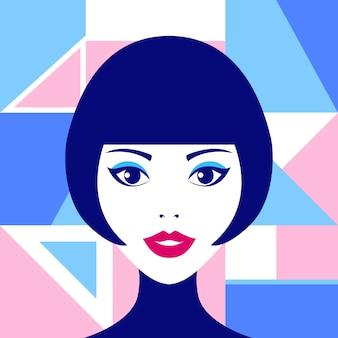 Illustrazione pop con volto di donna e figure geometriche Vettore Premium
