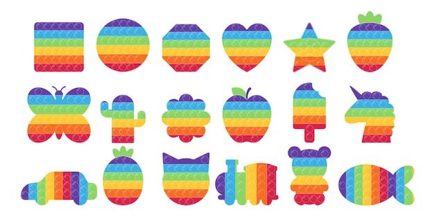 Giocattoli pop it ambientati nei colori dell'arcobaleno
