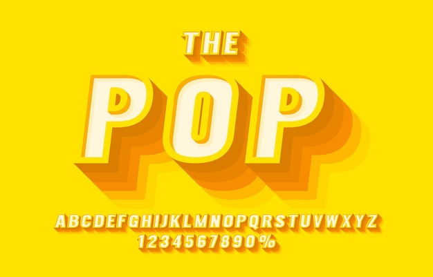 Set di caratteri pop retrò set di lettere e numeri simbolo vettore