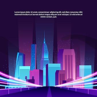 Grattacieli alla moda della costruzione della città di schiocco con l'illustrazione della via della strada