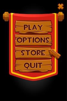Pannelli in legno banner pop-up e bandiera rossa per il gioco. illustrazione di una finestra di menu personalizzata, pulsanti in legno e freccia.