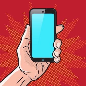 Mokup in stile popart con lo smartphone in mano