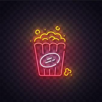 Insegna al neon del popcorn, insegna luminosa, insegna leggera. logo popcorn neon, emblema. illustrazione