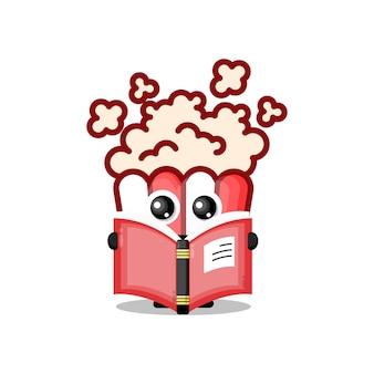 Popcorn leggendo un libro simpatico personaggio mascotte