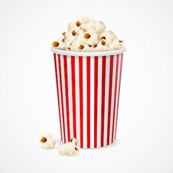 Popcorn in scatola di cartone rossa e bianca