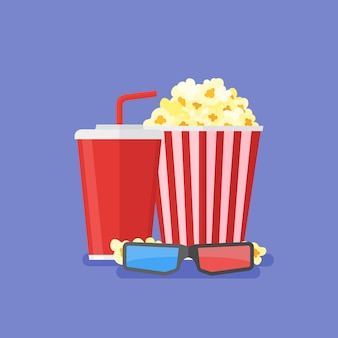 Popcorn, soda da asporto e occhiali per cinema 3d. design cinematografico in stile piatto.