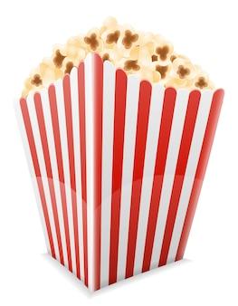 Popcorn nell'illustrazione del pacchetto di cartone a strisce isolata su white