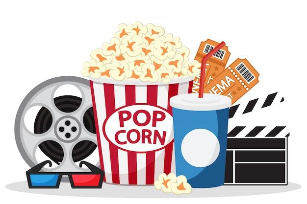 Popcorn, biglietti, succo e bicchieri su un bianco. ambientato nel film