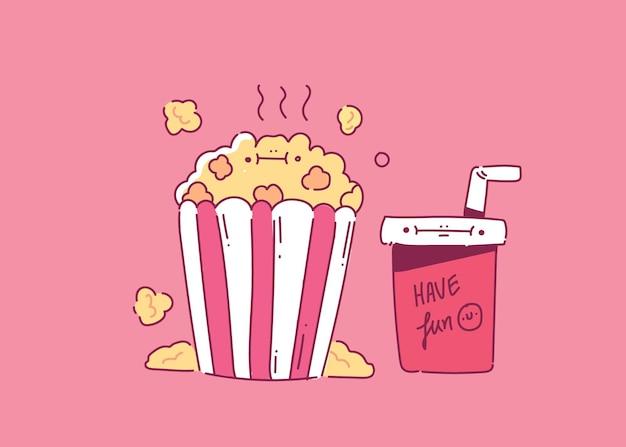 Popcorn con un bicchiere di bibita per lo stile della mano del cinema. illustrazione del cinema