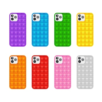 Set custodia per telefono popit gioco antistress alla moda giocattolo a mano con bolle di spinta nei colori dell'arcobaleno