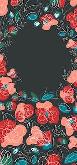 Banner alla moda lineart floreale papavero