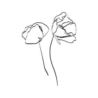 Disegno a tratteggio continuo del fiore del papavero. pianta astratta di vettore in uno stile minimalista alla moda. per la progettazione di loghi, inviti, poster, cartoline, stampe su t-shirt.
