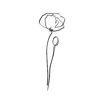 Il fiore di papavero è una linea d'arte. pianta astratta di vettore in uno stile minimalista alla moda. per la progettazione di loghi, inviti, poster, cartoline, stampe su t-shirt.