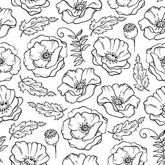 Abbozzo floreale monocromatico del prato del papavero con l'erba del fiore di boll e il modello senza cuciture del fumetto del germoglio