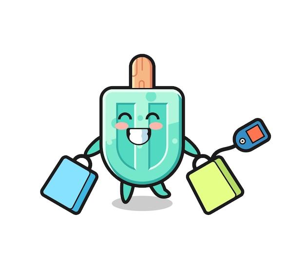 Fumetto della mascotte dei ghiaccioli che tiene una borsa della spesa, design carino