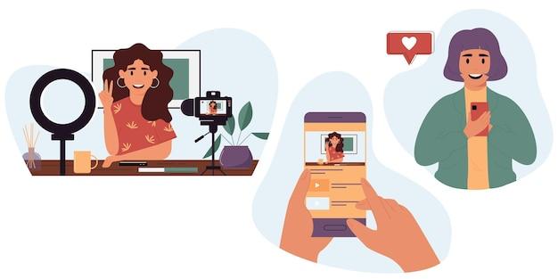 Popolare blogger in streaming onlineblogger che dimostra le sue abilità via internet