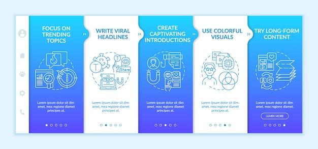 Modello onboarding di suggerimenti per la creazione di contenuti popolari