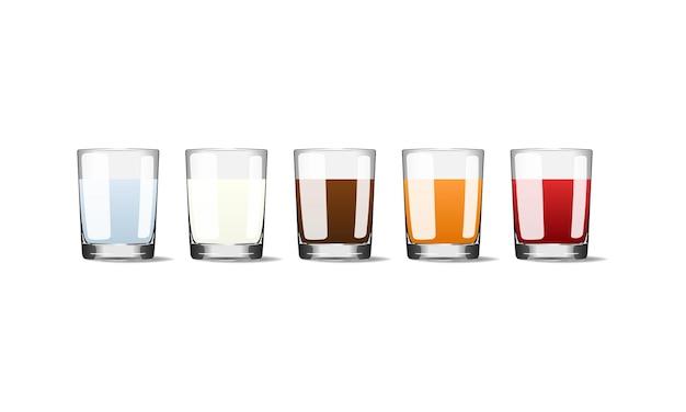 Bevande popolari in tazze di vetro illustrazione realistica di vettore. eps 10