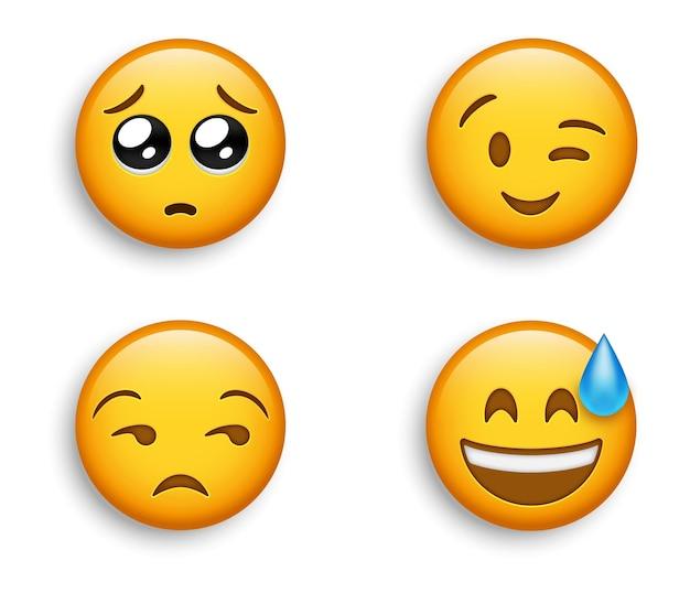 Emoji popolari - faccina sorridente felice con sudore e ammiccante emoji - occhio laterale non divertito ed emoticon implorante Vettore Premium
