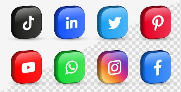 Icone di social media popolari in pulsanti 3d o loghi di piattaforme di rete