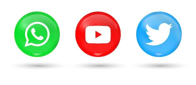 Popolari icone dei social media in pulsanti 3d whatsapp youtube loghi twitter nel cerchio moderno