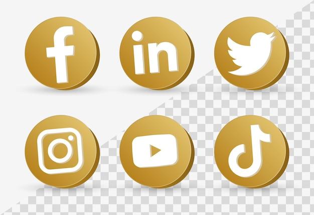 Loghi di icone di social media popolari in cornice dorata 3d o pulsanti di piattaforme di rete