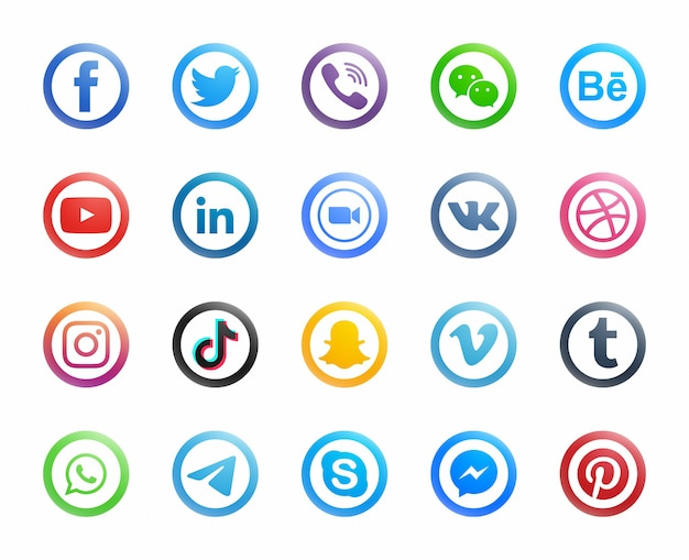 Icone moderne rotonde di media sociali popolari messe su fondo bianco