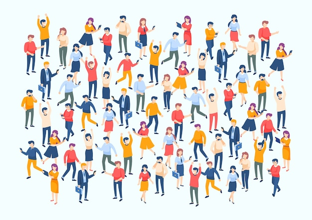 Poster di popolazione con team di professionisti del personaggio Vettore Premium