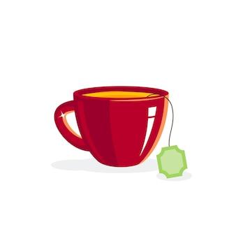 Tazza di porcellana di tè verde nell'illustrazione di stile piano