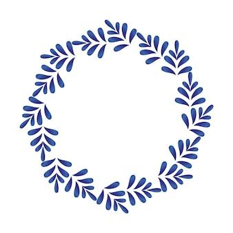 Cornice rotonda ornamentale in porcellana, ceramiche foglie cerchio vettoriale. bordo blu e bianco con