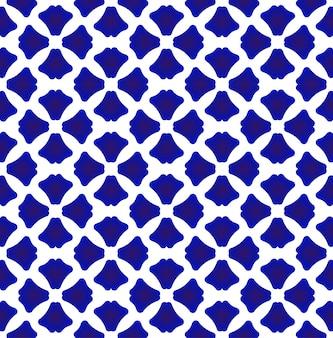 Modello in porcellana stile cinese e giapponese, motivo geometrico blu e bianco