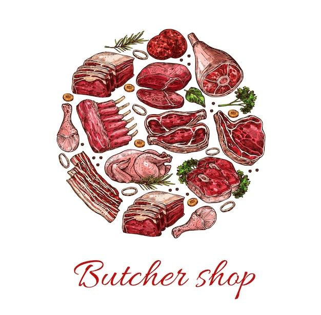 Schizzo di carne di maiale, manzo, agnello e pollo di cibo a base di carne di macelleria vettoriale. bistecca di manzo, costolette e costolette di maiale, strisce di pancetta, polpette di hamburger, cosce di pollo e agnello, erbe e spezie, design di carne fresca