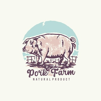 Allevamento di maiali con un logo di illustrazione vintage prodotto naturale
