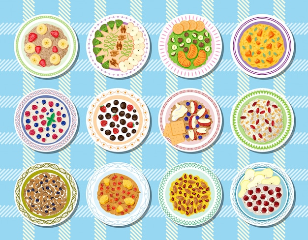 Porridge cibo sano per la colazione e farina d'avena con frutti di bosco in una ciotola per la dieta vegetariana illustrazione set di cereali con frutta al mattino sullo sfondo